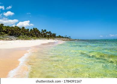 Xcacel beach, Quintana Roo, Mexico. Empty tropical beach on the Caribbean Sea coast. Beautiful tropical landscape,