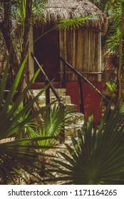 Xcacelito, Xcacel, Quintana Roo, México. April 27, 2017  Log cabin in the jungle