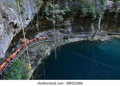 X-Canche cenote is 30 km from center of town Valladolid near Mayan site Ek Balam. Yucatan peninsula, Mexico.
