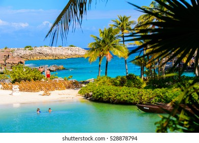 XCARET, MEXICI - NOV 7, 2016: Beautiful beach of the Xcaret,  Maya civilization archaeological site, Yucatan Peninsula, Quintana Roo, Mexico