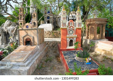 XCARET, MEXICO - DECEMBER 28, 2018 Traditional cemetery outdoor museum in the Mayan village, Xcaret attraction Park. Is a good example of the mealting f Mayan and Spanish influences.