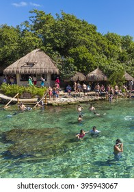 XCARET, MEXICO - January 6 2015 - The beautiful beach of Xcaret, a Maya civilization archaeological site located on the Caribbean coastline of the Yucatan Peninsula.