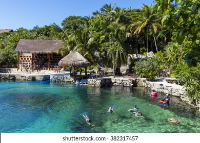XCARET, MEXICO - January 6 2016 - The beautiful beach of Xcaret,  a Maya civilization archaeological site located on the Caribbean coastline of the Yucatan Peninsula.
