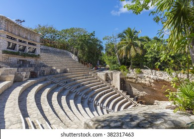 XCARET, MEXICO - January 6 2016 - Ruins in Xcaret,  a Maya civilization archaeological site located on the Caribbean coastline of the Yucatan Peninsula.
