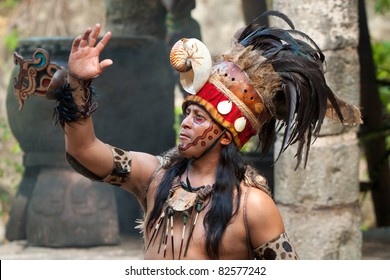"""XCARET, MEXICO - JULY 19: Pre-Hispanic Mayan performance called """"Dance of the Owl"""" in the jungle at ancient Mayan Village on  July 19, 2011 in Xcaret, Riviera Maya, Mexico"""