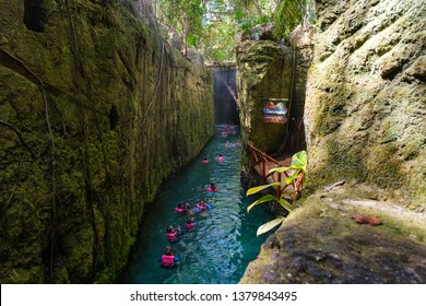 XCARET,MEXICO - APRIL 16,2019 : Underground river at XCaret park on the Mayan Riviera