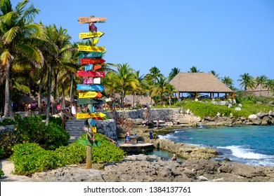 XCARET,MEXICO - APRIL 16,2019 : The XCaret park  on the Mayan Riviera in Mexico on a beautiful sunny day