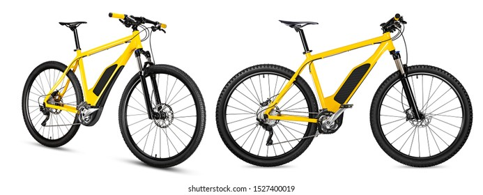 xellow ebike pedelec set with battery powered motor bicycle moutainbike. mountain bike ecology modern transport concept isolated on white background
