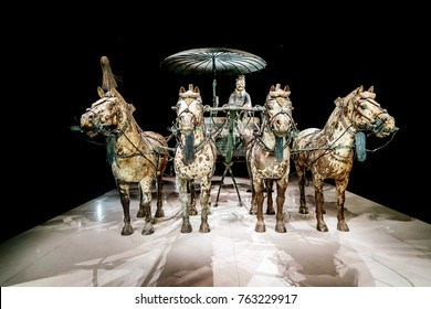 Xi 'an, China - on October 17, 2017: the world's most famous Terra Cotta Warriors Bronze chariot,The eighth wonder of the world?qin shihuang terracotta army is one of the world cultural heritage.