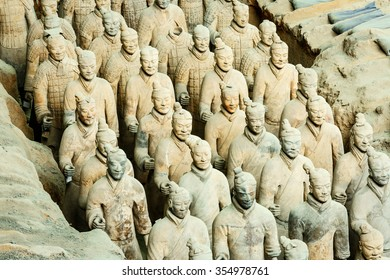 Xi 'an, China - on September 26, 2015:the world's most famous statue of the Terra Cotta Warriors?The eighth wonder of the world?qin shihuang terracotta army is one of the world cultural heritage.
