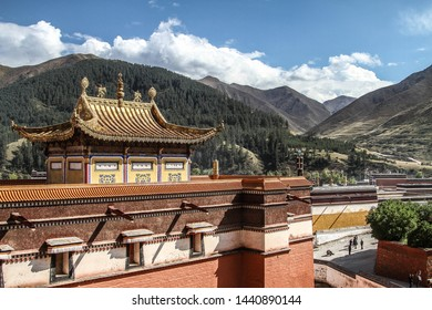 Xiahe, Gansu Province, China - October 2018: tibetan architecture and golden roof of Labrang Monastery