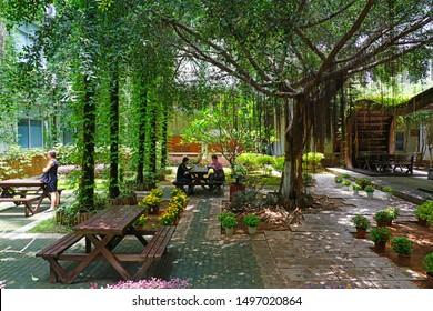 XIAMEN, CHINA -14 JUN 2019- View of the campus of Xiamen University (Xia Da), a research and teaching university in Xiamen (Amoy), overlooking the Taiwan Strait in Fujian province, China.