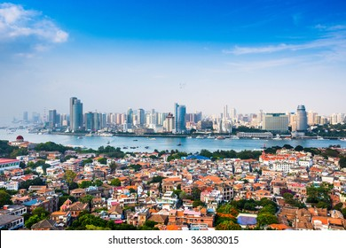 Xiamen, China city skyline from Gulangyu Island.