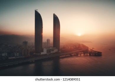 """XIAMEN, CHINA – FEB 16: Aerial view of city skyline at sunrise on February 26, 2018 in Xiamen. Xiamen was ranked as China's 2nd-""""most suitable city for living"""""""