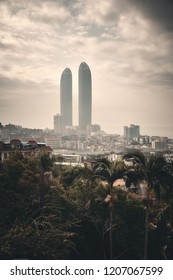 """XIAMEN, CHINA – FEB 16: City skyline viewed from mountain top on February 26, 2018 in Xiamen. Xiamen was ranked as China's 2nd-""""most suitable city for living"""""""