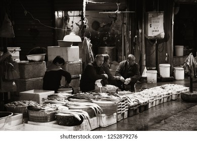 "XIAMEN, CHINA – FEB 16: Fish market street view on February 26, 2018 in Xiamen. Xiamen was ranked as China's 2nd-""most suitable city for living"""