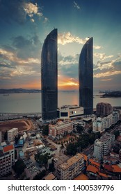 """XIAMEN, CHINA – FEB 16: Shimao Twin Tower rooftop view at sunset on February 26, 2018 in Xiamen. Xiamen was ranked as China's 2nd-""""most suitable city for living"""""""