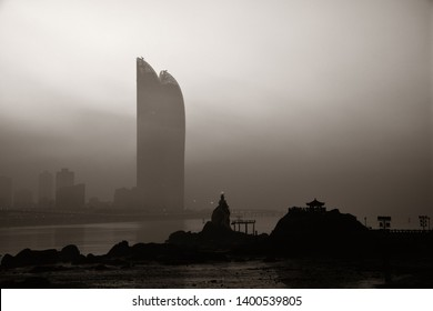 """XIAMEN, CHINA – FEB 16: Shimao Twin Tower silhouette at sunrise on February 26, 2018 in Xiamen. Xiamen was ranked as China's 2nd-""""most suitable city for living"""""""