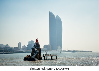 """XIAMEN, CHINA – FEB 16: Shimao Twin Tower and city skyline on February 26, 2018 in Xiamen. Xiamen was ranked as China's 2nd-""""most suitable city for living"""""""