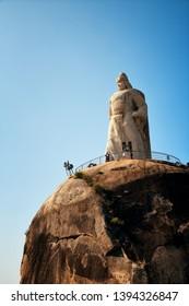 "XIAMEN, CHINA – FEB 16: Zheng Chenggong statue closeup on February 26, 2018 in Xiamen. Xiamen was ranked as China's 2nd-""most suitable city for living"""
