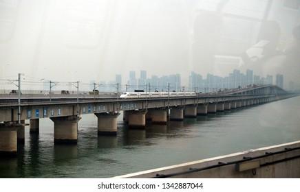 Xiamen, China - January 4, 2018: Xiamen Metro officially branded as AMTR (Across Mass Transit Railway), is a rapid transit system serving Xiamen, Fujian, China.