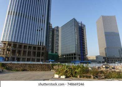Xiamen, China - Oct 26, 2017: Buildings of Xiamen West Coast Strait Golden Valley Plaza in Xiamen Guanyinshan Business Distinct, China