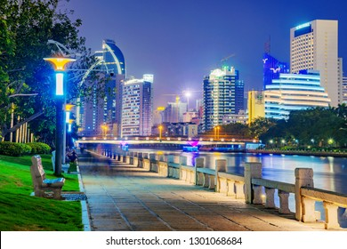 XIAMEN, CHINA -OCTOBER 08: This is a night view of a riverside footpath at Bailuzhou Park, in the downtown area on October 08, 2018 in Xiamen