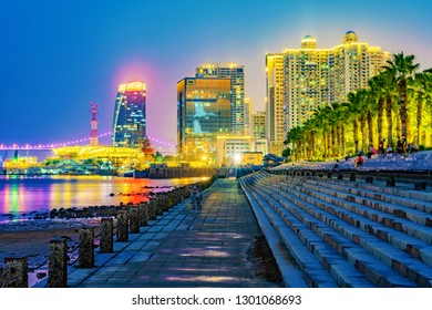 XIAMEN, CHINA -OCTOBER 08: This is a night view of Xiamen Bay Park, a popular seaside park near the downtown area on October 08, 2018 in Xiamen