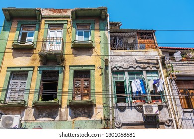 XIAMEN, CHINA -OCTOBER 09: Old Chinese apartment buildings in the downtown area of Xiamen on October 09, 2018 in Xiamen