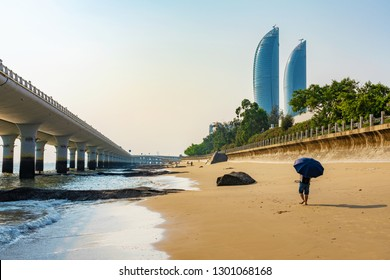 XIAMEN, CHINA -OCTOBER 09: This is Baicheng Beach, a popular tourist beach near Xiamen University on October 09, 2018 in Xiamen