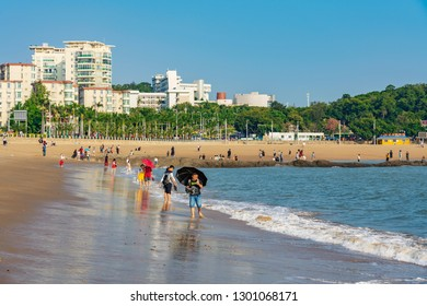 XIAMEN, CHINA -OCTOBER 09: This is Baicheng Beach, a famous beach and popular tourist destination near Xiamen University on October 09, 2018 in Xiamen