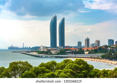 XIAMEN, CHINA -OCTOBER 10: This is a view of the Shimao Straits Towers a famous landmark along the Xiamen seafront on October 10, 2018 in Xiamen
