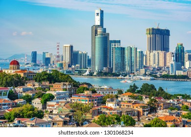 XIAMEN, CHINA -OCTOBER 12: This is a view Gulangyu island with Xiamen waterfront city buildings in the distance on October 12, 2018 in Xiamen