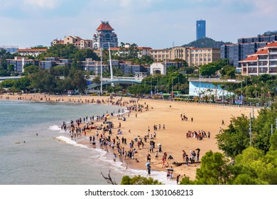 XIAMEN, CHINA -OCTOBER 13: This is a scenic view of Baicheng Beach and waterfront area near Xiamen University on October 13, 2018 in Xiamen