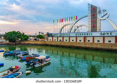 XIAMEN, CHINA -OCTOBER 14: Xiamen Special Economic Zone harbor area near Jimei University on October 14, 2018 in Xiamen
