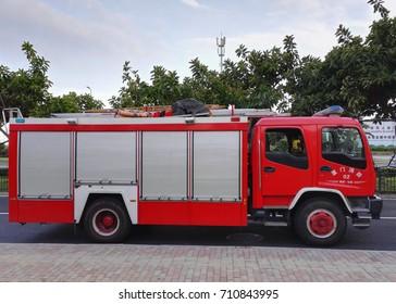 Xiamen, China - Sep 7, 2017: Fire truck near xiamen international conference center