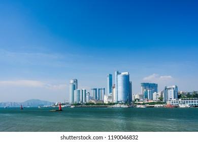 Xiamen, China - September 19, 2018: Xiamen skyline with blue sky.