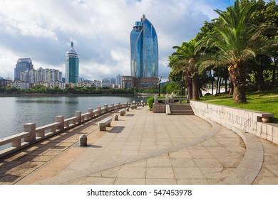 Xiamen, China skyline on Yundang Lake during sunny day
