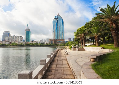 Xiamen, China skyline on Yundang Lake during sunny day