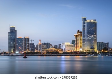 Xiamen, China skyline at twilight.