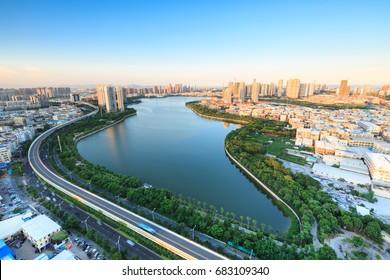 Xiamen City -  Aug 1st,2015:Xiamen lakeside reservoir, lakeside Garden In Xiamen City,Fujian,China