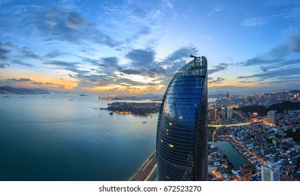 Xiamen City - Aug 7,2015:Xiamen Shimao Strait Building Petronas Twin Towers Scene In Xiamen City,Fujian,China