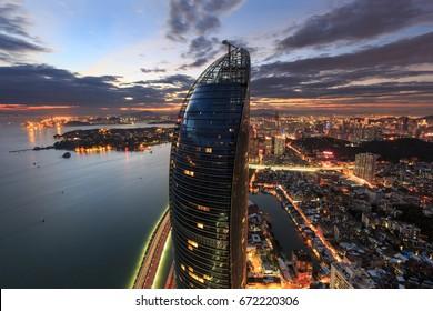 Xiamen City - Jul 10,2015:Xiamen Shimao Strait Building Petronas Twin Towers Scene In Xiamen City,Fujian,China
