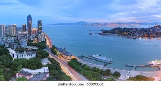 Xiamen City - Jul 29,2015:Xiamen Gulangyu Islet and Lujiang Road and shimao strait building in Xiamen City,Fujian,China
