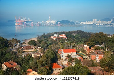 Xiamen city viewed from Gulangyu island in Fujian, China.