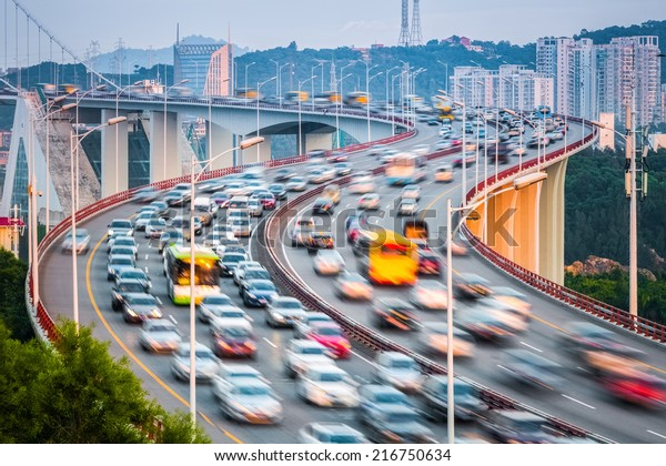 xiamen haicang bridge in sunset ,approach bridge graceful curve shape closeup