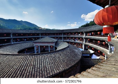 XIAMEN - JULY 22: Earth Cast, traditional architecture of Hakka people in South of China on July 22, 2016 in Xiamen, China. XiaMen is a developing city  locates in Fujian province, South of China.