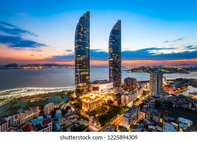 Xiamen Siming District Urban Architecture Night Scenery