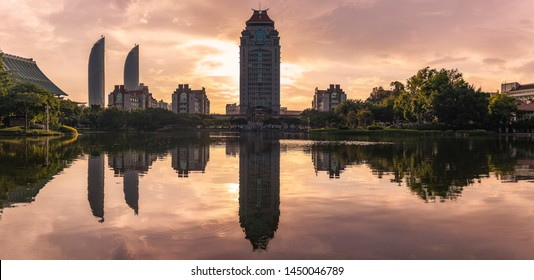 Xiamen University Xiamen City Fujian Province skyline reflection sunset