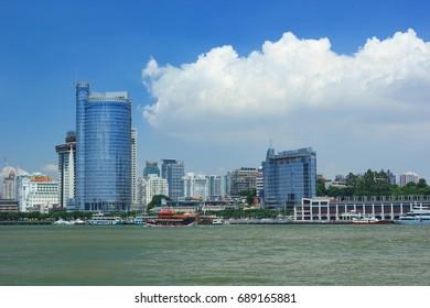 Xiamen,China - Aug 23, 2014:Lujiang River Cityscape In Xiamen City,Fujian,China